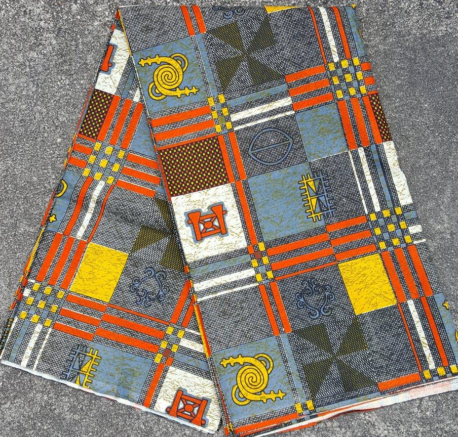 African Orange Gold and Black Print Fabric #477