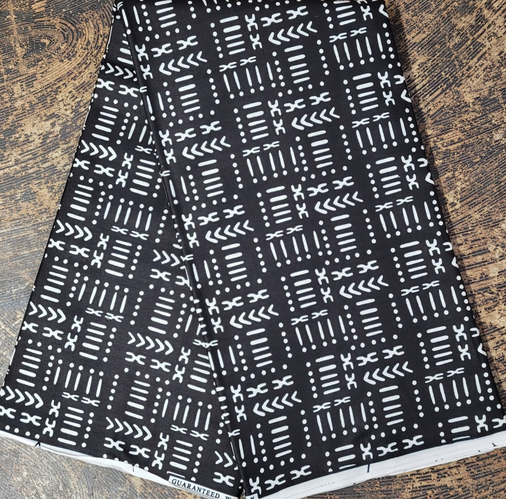 African Black and White Mudcloth Print Fabric #478