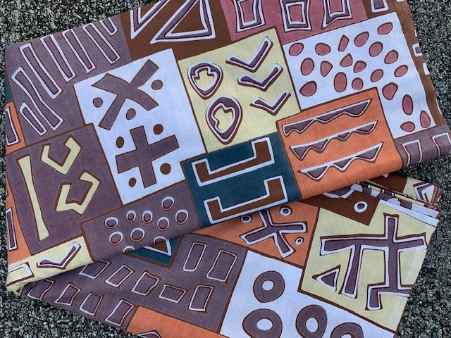 Soft Brown and Orange African Print Fabric #480