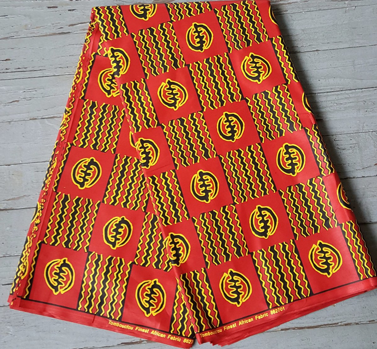 African Red Black and Gold Gye Nyame Fabric #494