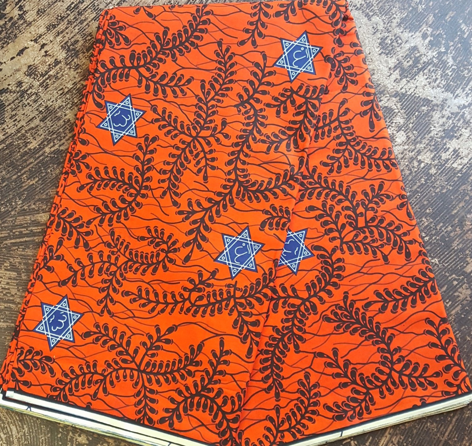 African Red-Orange and Blue design print cotton fabric sold by the yard #495