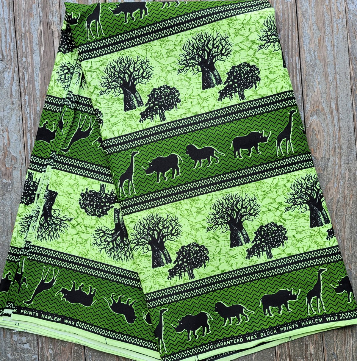 African Green Print Fabric with Animals #506
