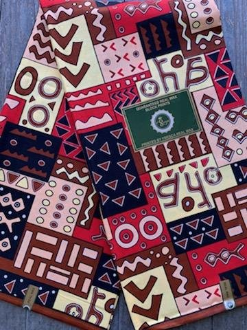 African Pink and Brown Print Fabric #509