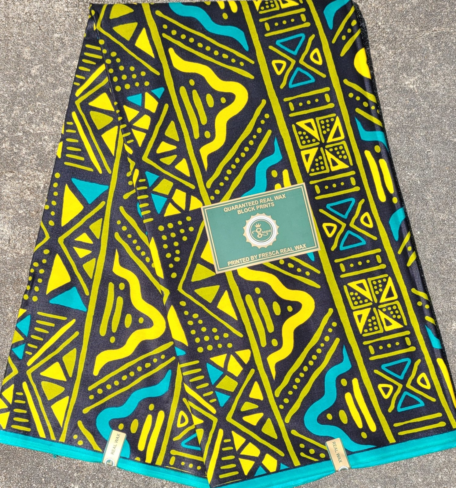 Teal, yellow, and olive African mudcloth-inspired Print Fabric #515
