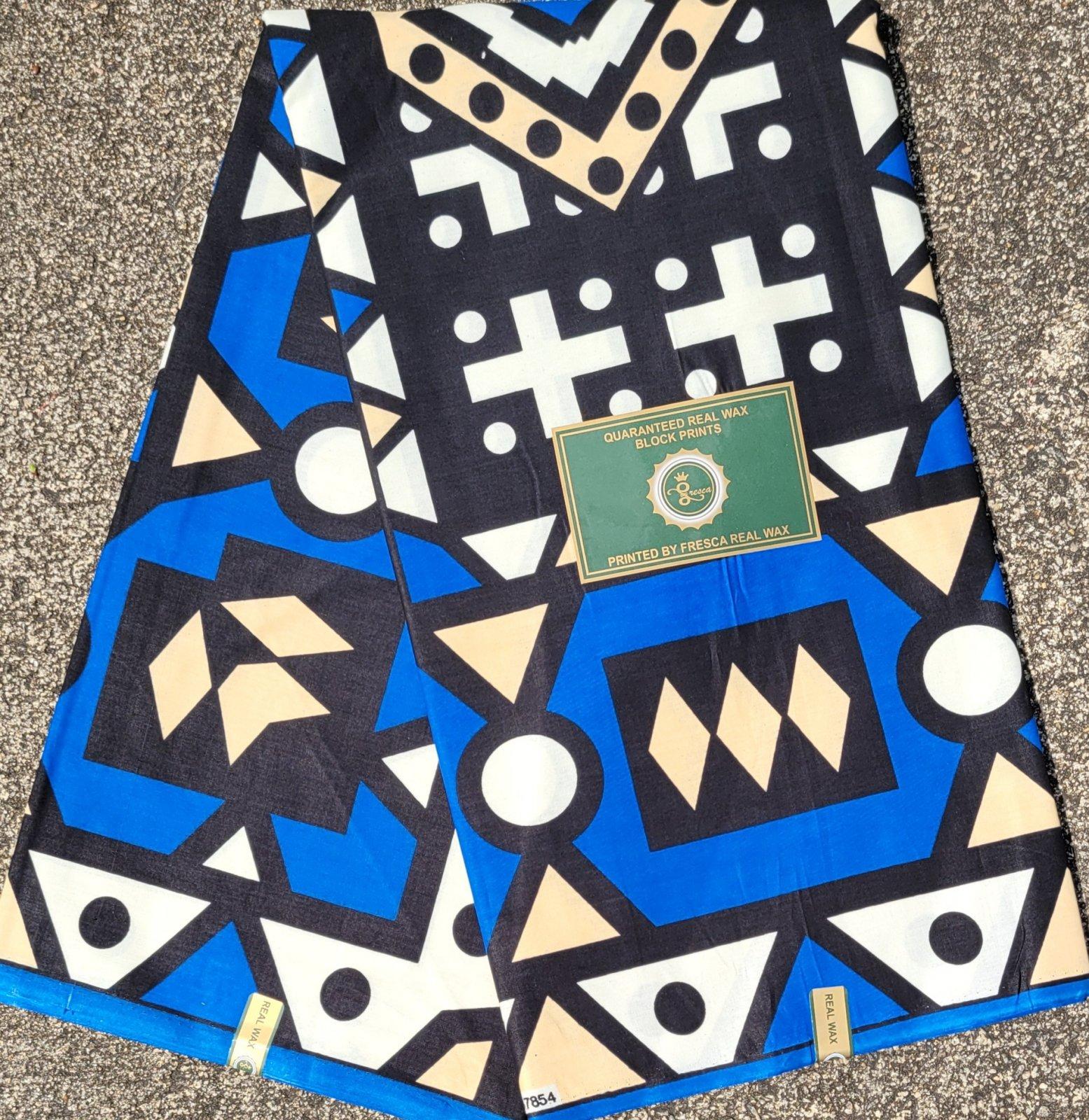 Blue and Black Geometric Print Fabric #519