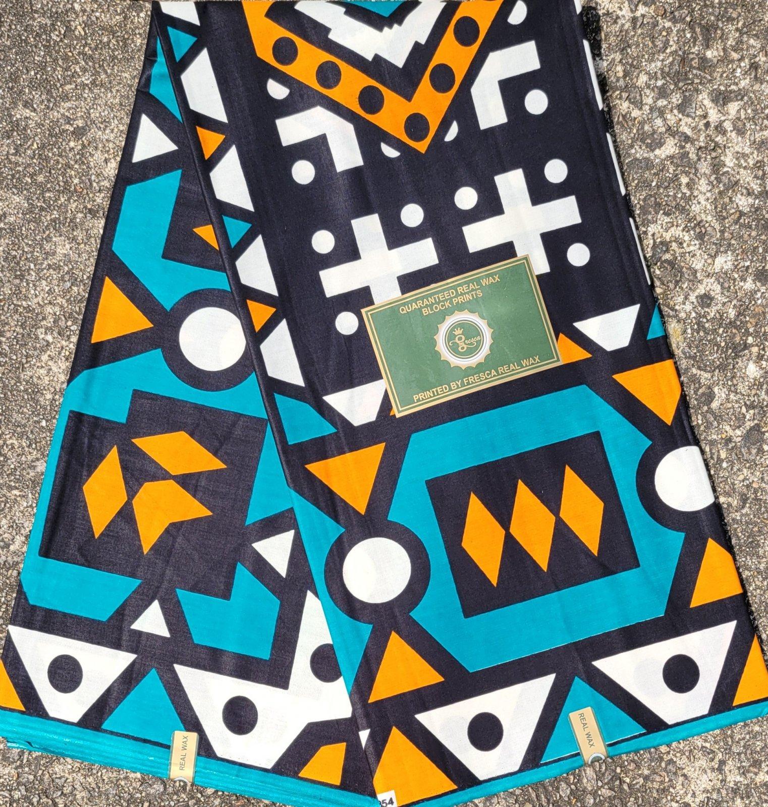 Blue and Black Geometric Print Fabric #520