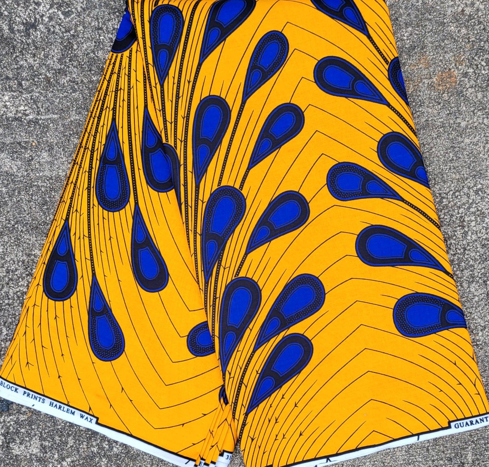 Blue and Orange/Gold Print Fabric #524