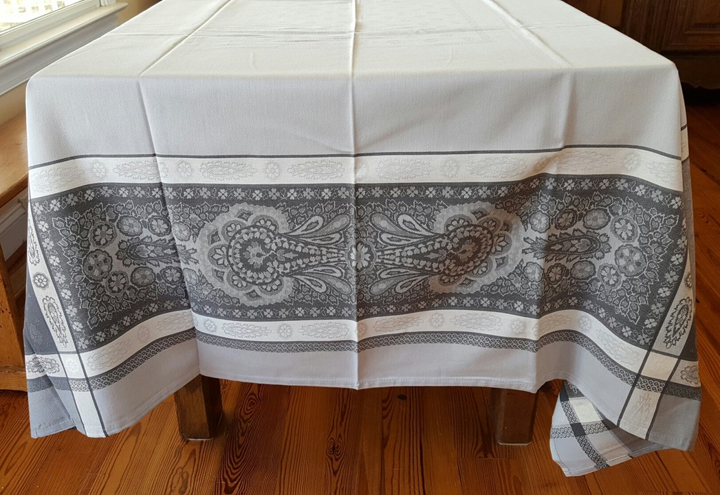 5 Sizes French Jacquard Tablecloths Bastide (Gray)