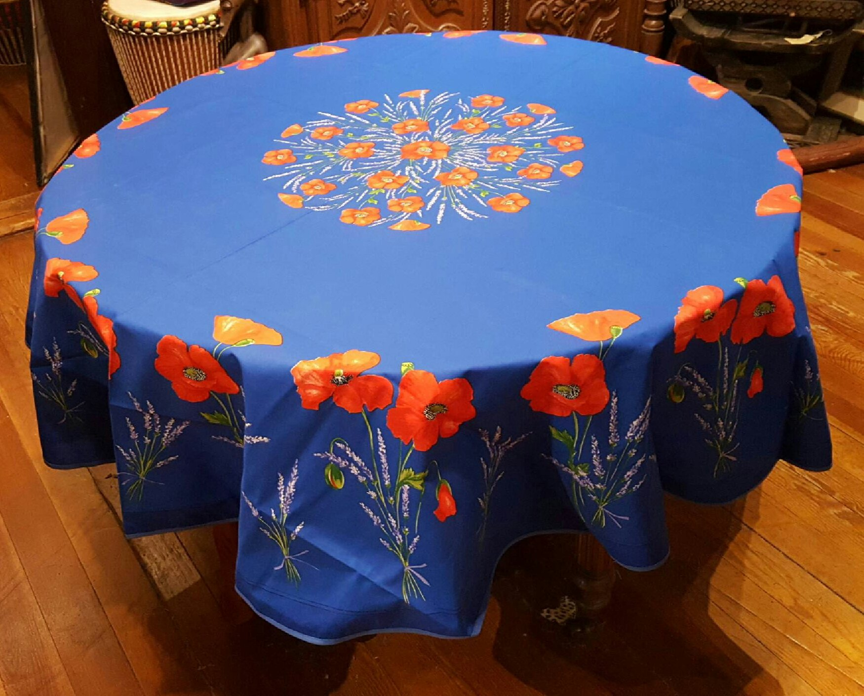 70 French Acrylic-Coated Round Tablecloth Poppy (Blue)
