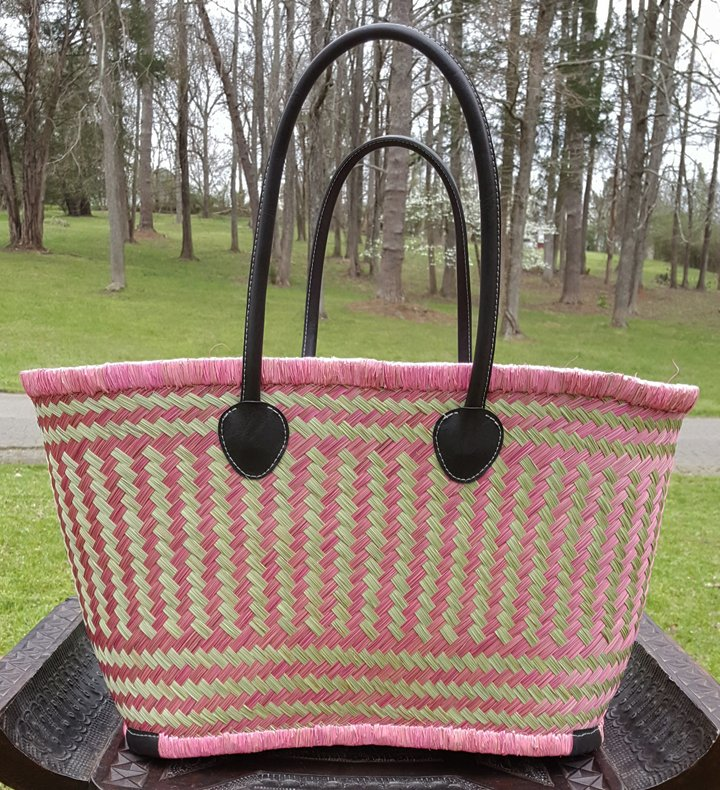 Madagascar Basket - Pink/Natural