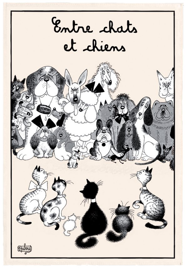Dubout Between Cats and Dogs tea towel