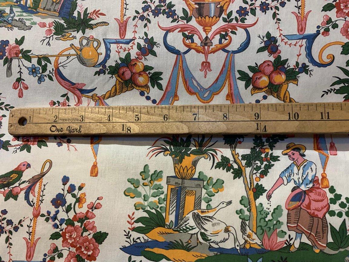 108 wide Multicolored Period Chintz fabric