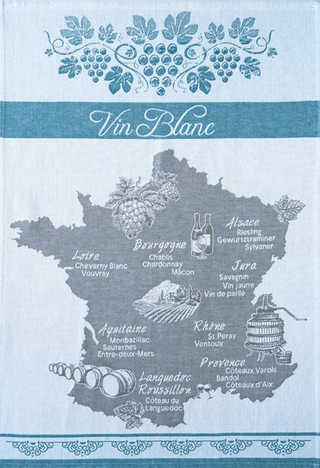 Coucke Wine Map tea towel