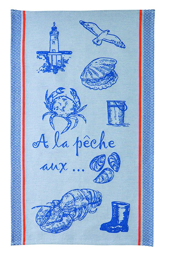 Coucke Blue Beach tea towel