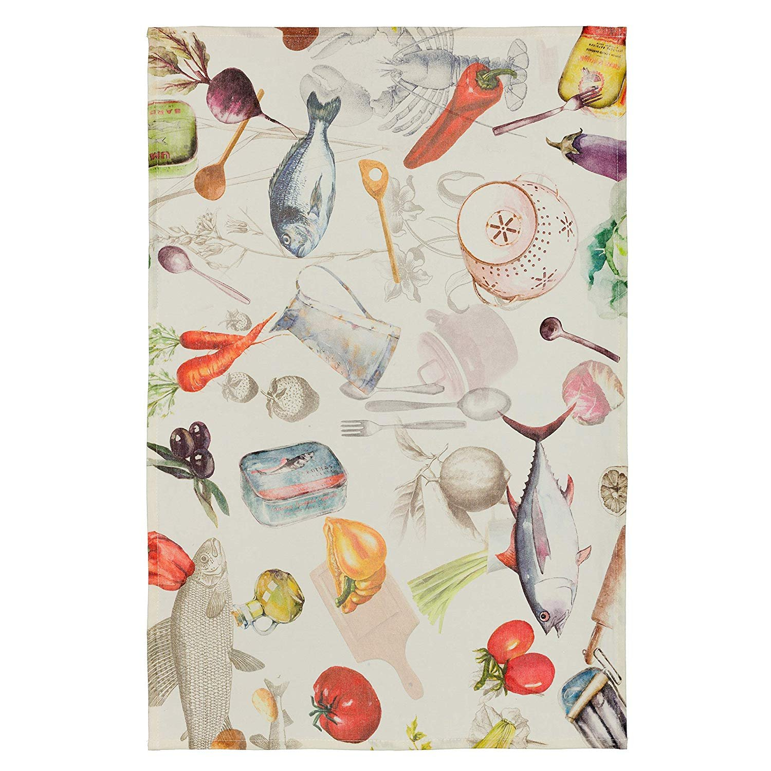Coucke Linen Printed tea towel with Sardines