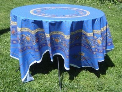 70 French Cotton Tablecloth Panel Lisa (Blue)