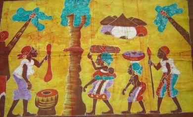 Ivory Coast Batik Village Life panel #019