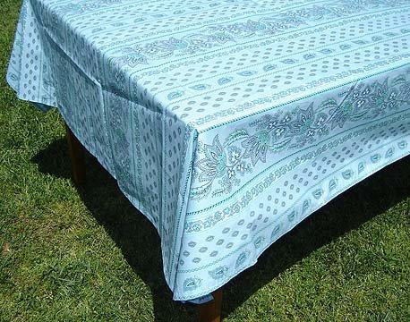 96 French Acrylic-Coated Rectangular Tablecloth Lisa (Light Blue)