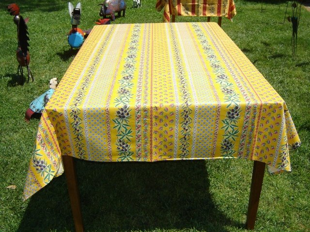 96 French Acrylic-Coated Rectangular Tablecloth Olive (Yellow)