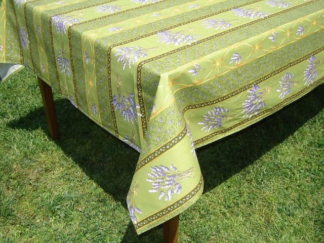 84 French Acrylic-Coated Rectangular Tablecloth Lavender (Green)