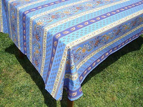 96 French Cotton Rectangular Tablecloth Lisa (Blue)