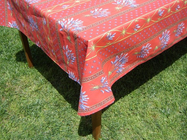 96 French Acrylic-Coated Rectangular Tablecloth Lavender (Red)