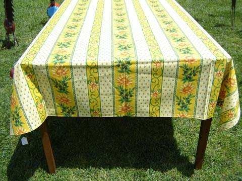 96 French Acrylic-Coated Rectangular Tablecloth Sunflower