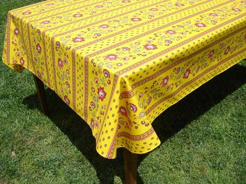 French acrylic coated tablecloth (Faience Gold) 96