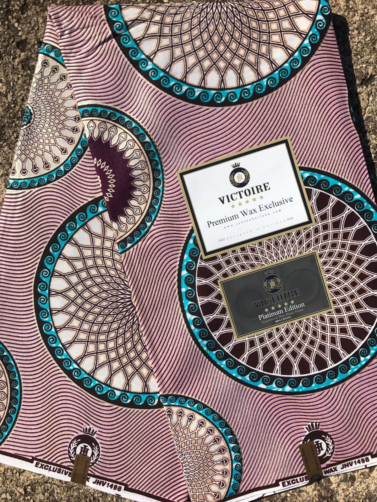 Metallic on soft purple Dutch wax fabric #1014