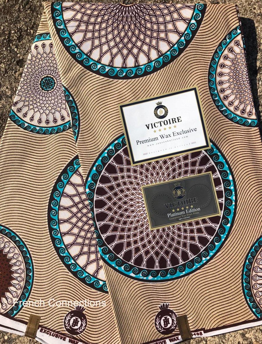 Metallic on brown Dutch wax fabric #1016