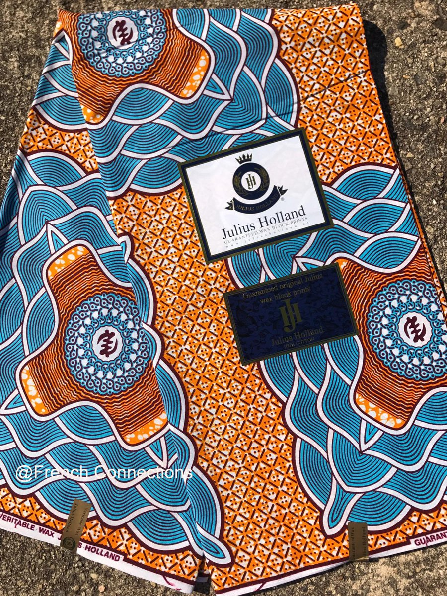 Orange and blue Dutch wax fabric #1018