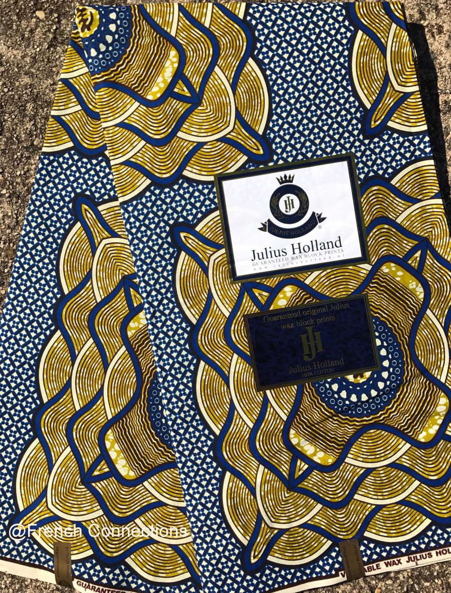 Gold and blue Dutch wax fabric #1019