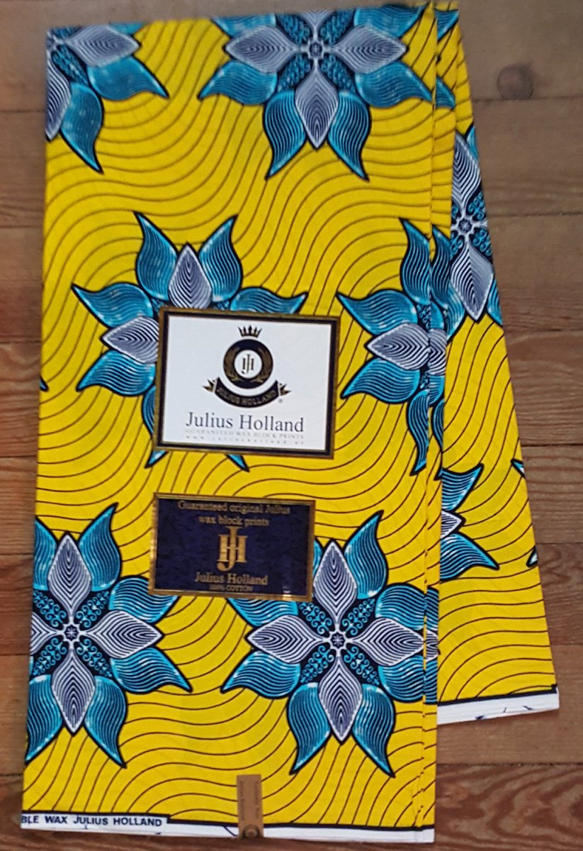Blue flowers on yellow Ankara fabric #1023