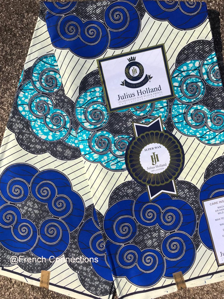 Large Blue Floral Ankara Fabric #1030