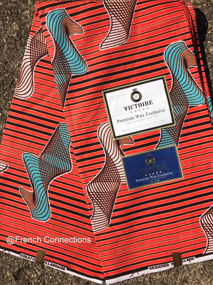 Orange and Blue Ankara Fabric #1038