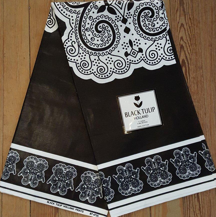 Black and White Hamsa Fabric #1042