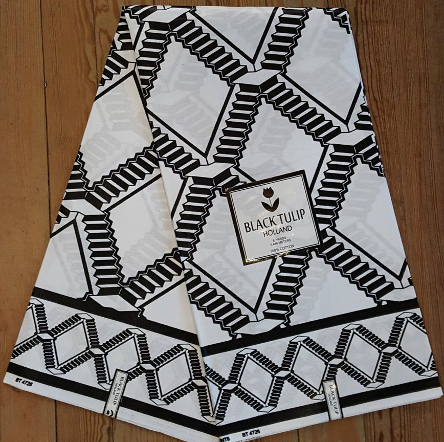 Black and White African Fabric #1043
