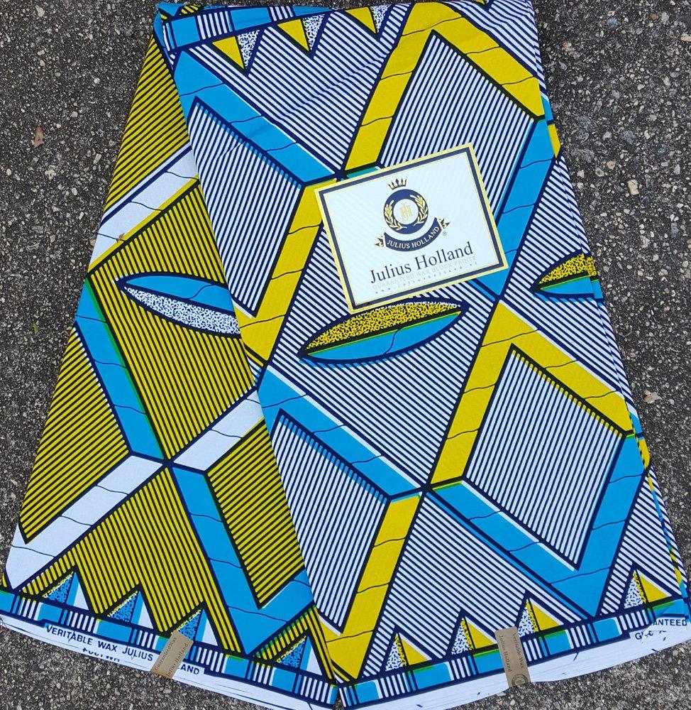 Blue and Yellow Wax Block printed fabric #1049
