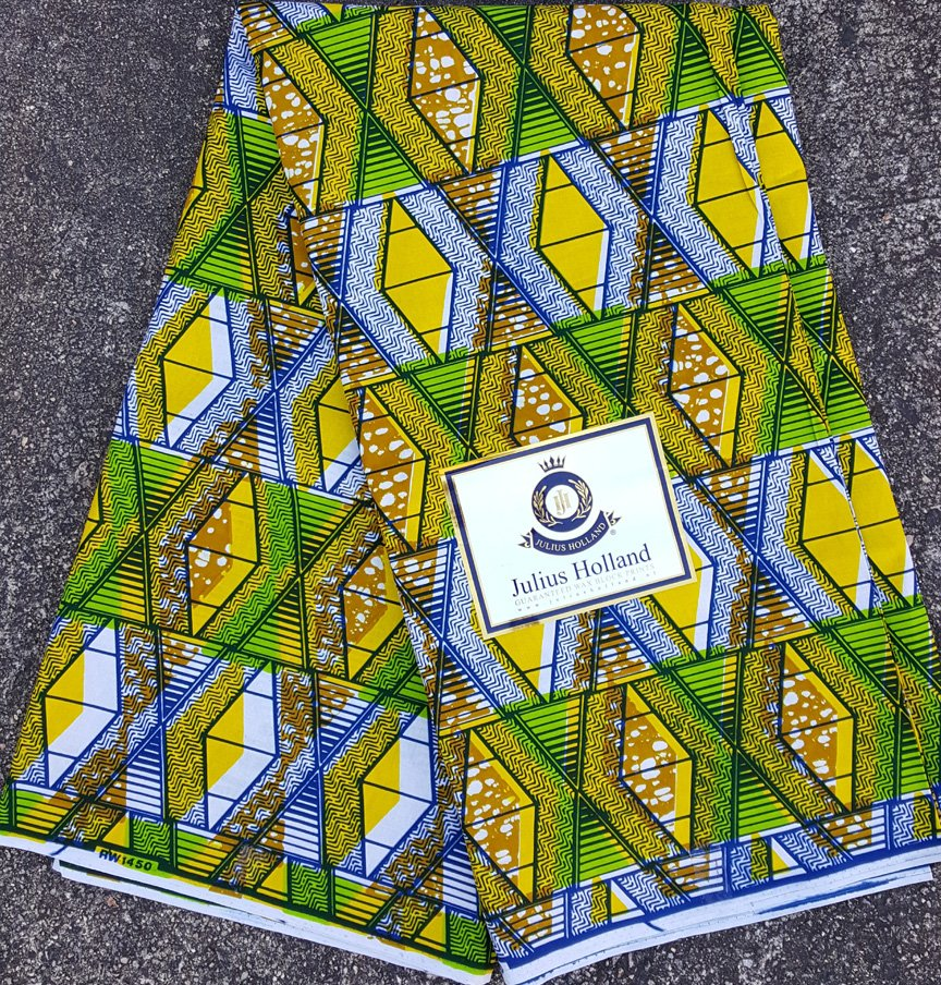 Green and Yellow Ankara Fabric #1050