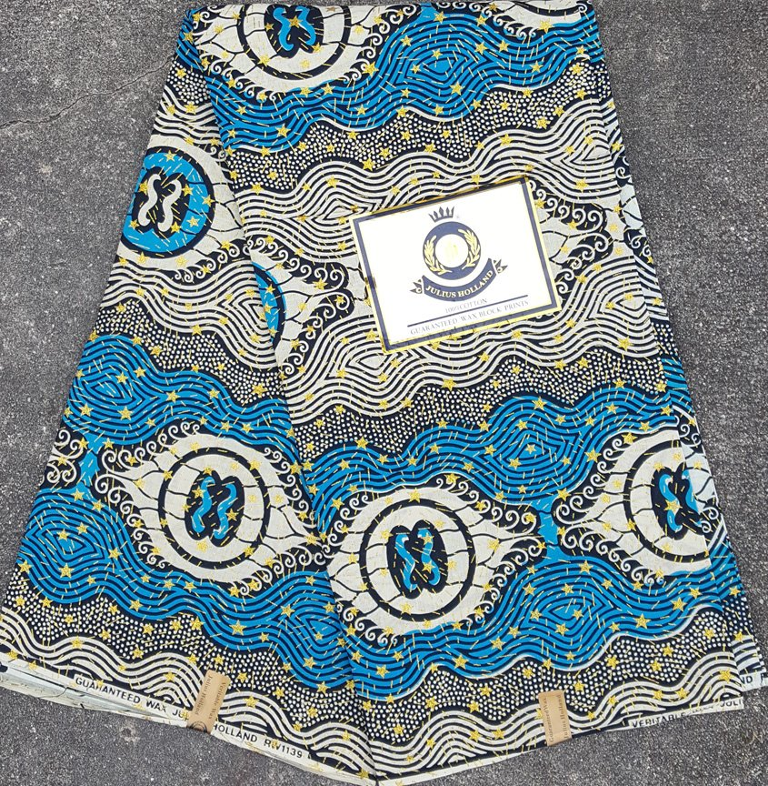 Blue with Gold Stars African Fabric #1057