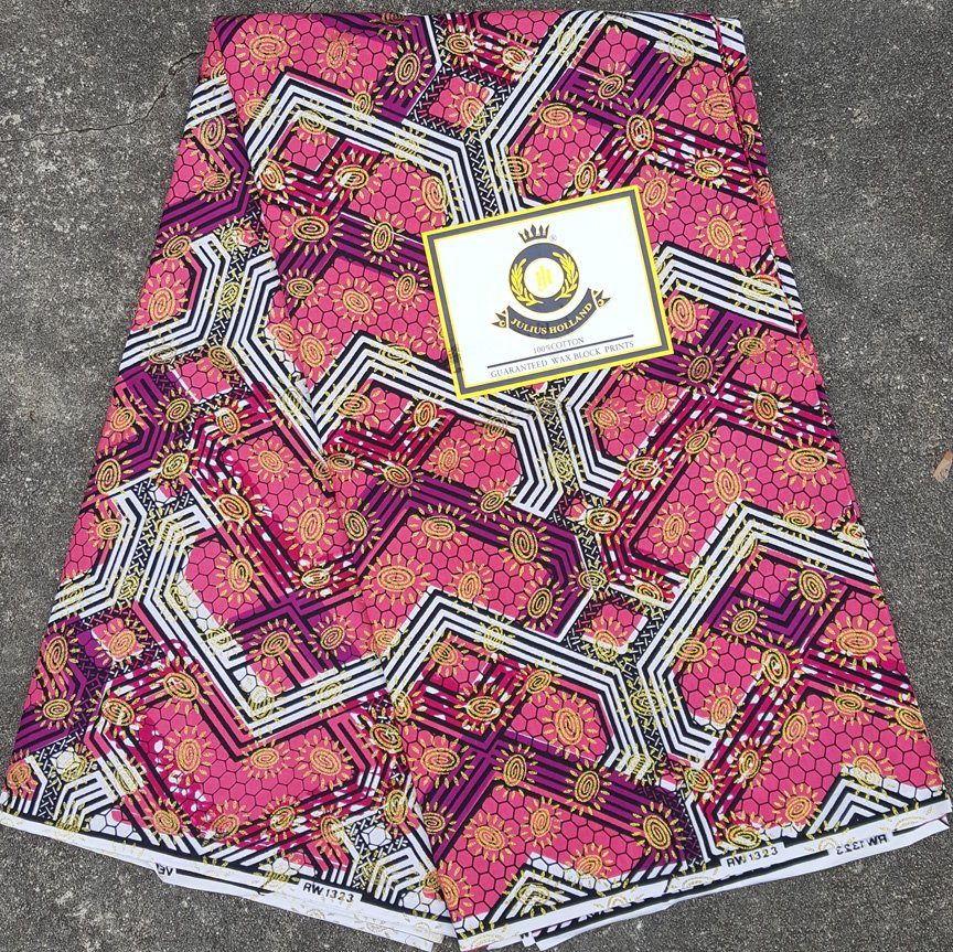 Berry with Gold Stars African Fabric #1058