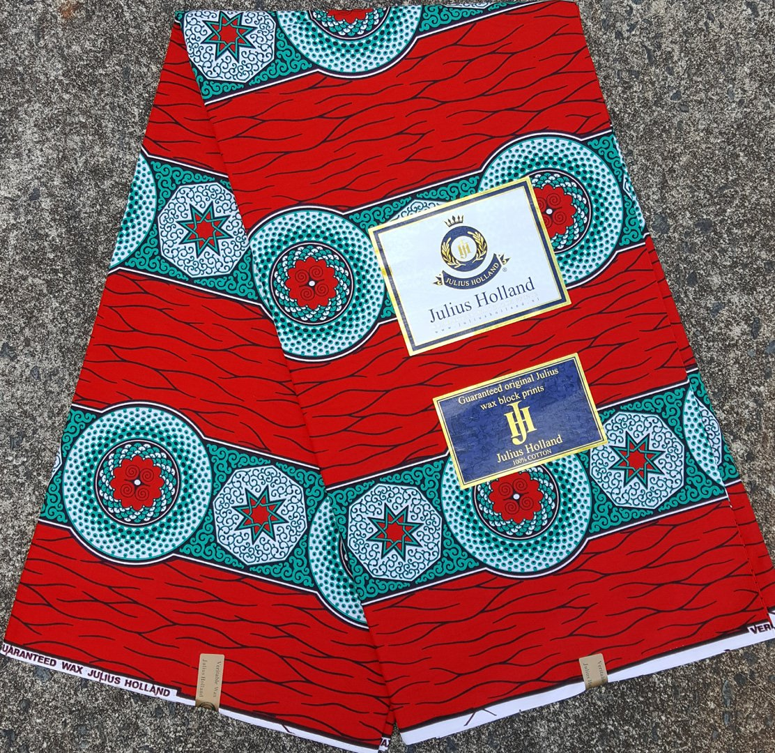 Red and Teal Dutch Wax Fabric #1059