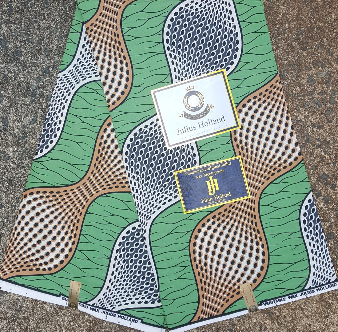 Green and Tan Dutch Wax Fabric #1069