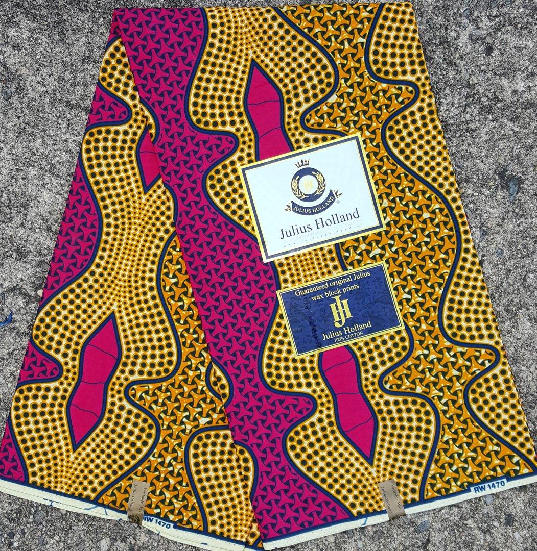 Fuchsia and Orange-Gold Wax Block Fabric #1075