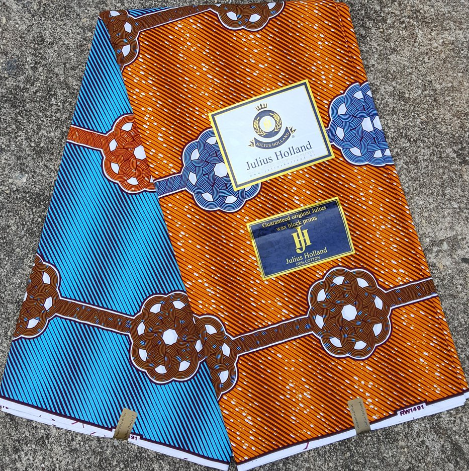 Blue and Orange Wax Block Fabric #1079