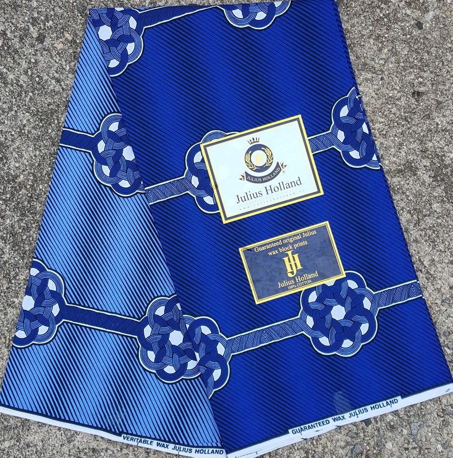 Two-Tone Blue Wax Block Fabric #1080