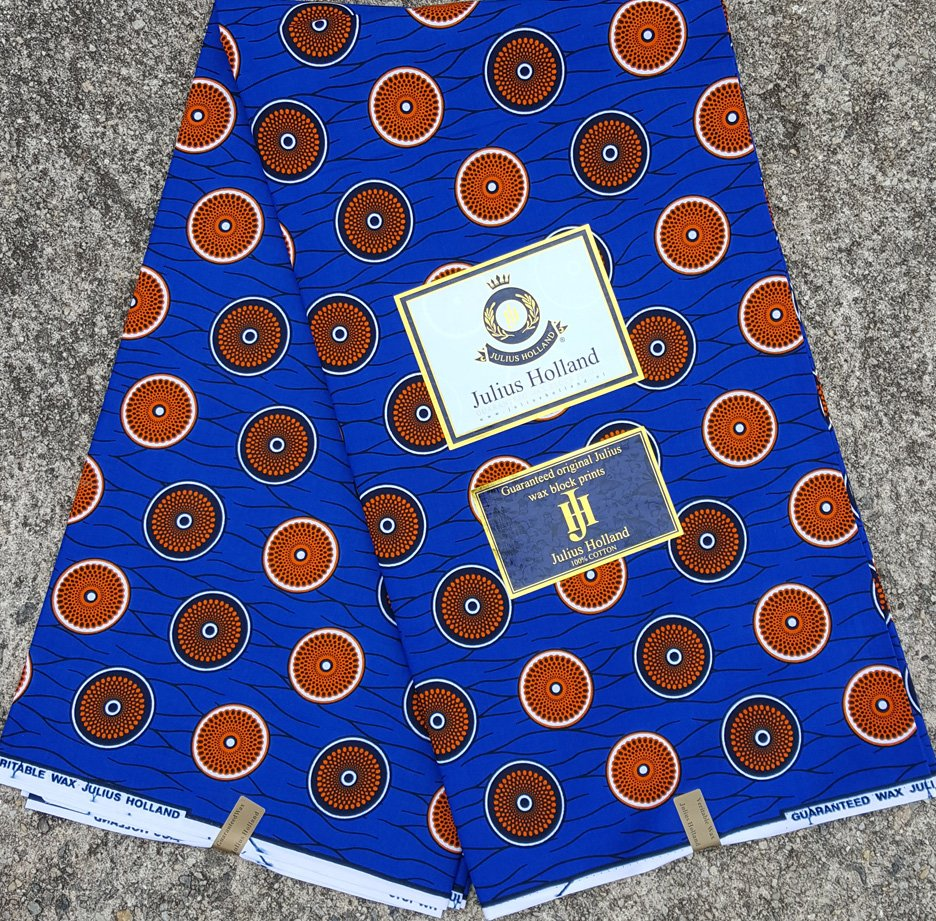 Blue and Orange Wax Block Fabric #1083