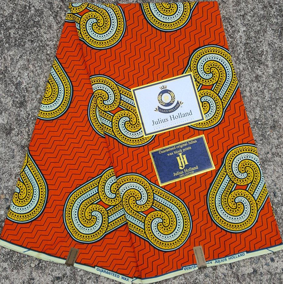 Orange and Gold Wax Block Fabric #1084