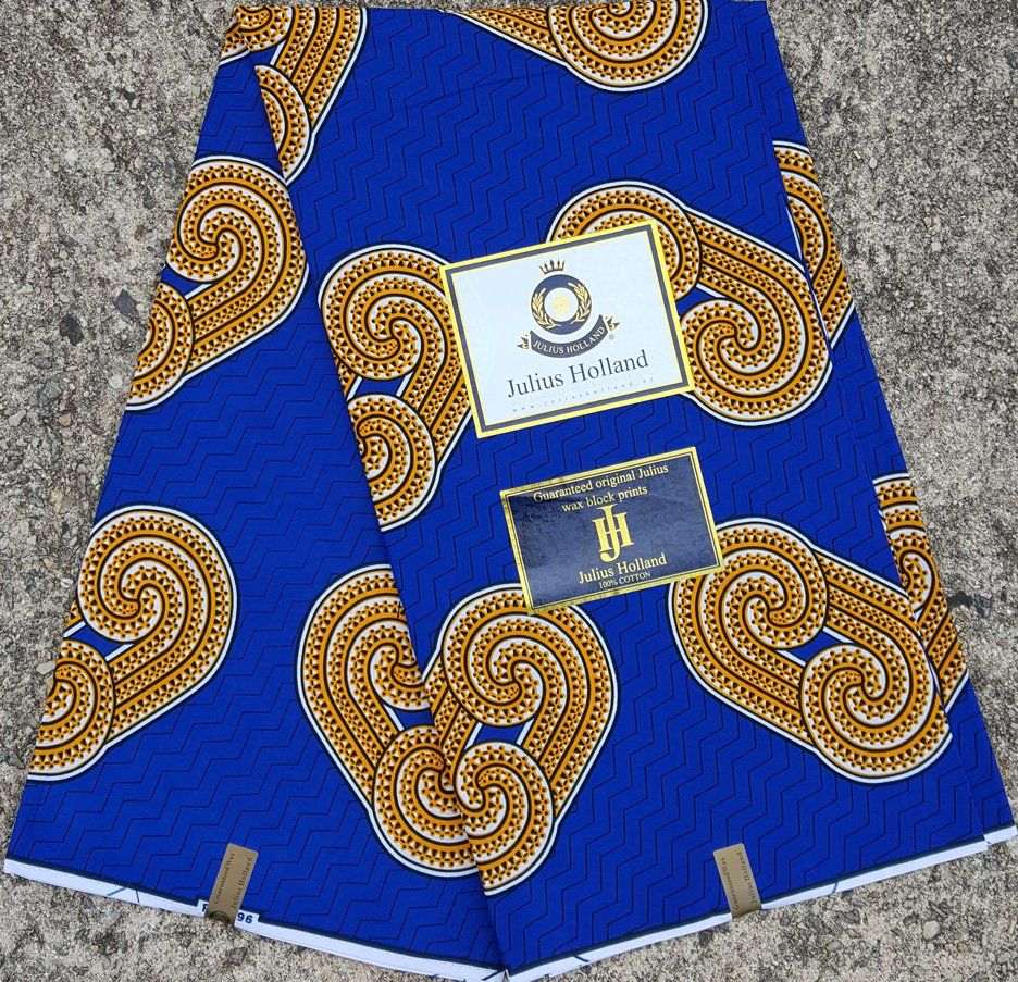 Blue and Gold Wax Block Fabric #1085