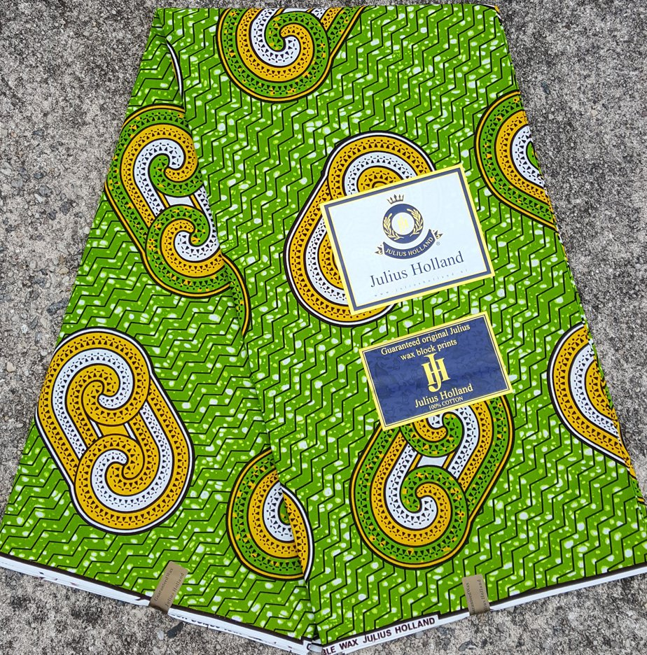 Green and Gold Wax Block Fabric #1086